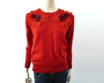 VANGO French Vintage Red Knit Blouse with Crochet Flowers