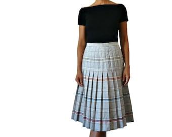 French Vintage Grey Stripy Pleated Wool Midi Skirt