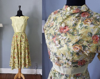50s Yellow Floral Day Dress with Matching Bolero - M