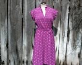 Purple Floral Short Sleeve Dress Dots