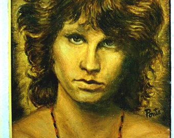 Jim Morrison   The Doors - Small But Smouldering Oil Painting