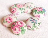 Fabric Buttons, Roses Of Spring, 6 Small or 6 Medium Sized, Pink Green Flowers, Shabby Cottage Chic, Floral Fabric Covered Buttons, Sewing