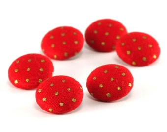 Fabric Buttons - Red Christmas Gold Polka Dots - 6 Small Red and Gold Fabric Covered Buttons, Sewing, Knitting, Crocheting, Clothing Buttons