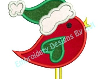 Applique Christmas Bird Santa Hat Embroidery Designs 4x4 & 5x7 Instant Download Sale