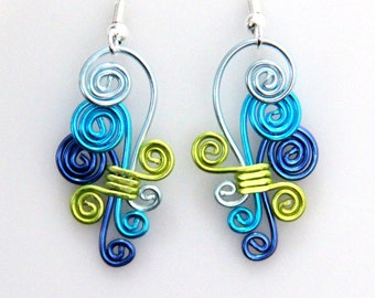 Cascading Spiral Dangle Earrings