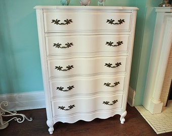 custom order Vintage White French Provincial Dresser Shabby Chic distressed