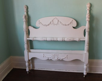 custom order  twin bed frame shabby chic distressed white vintage single cottage rose swag appliques