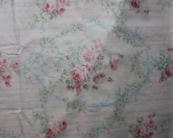 cotton fabric  shabby chic white  pink roses blue scrolls cottage prairie by the yard