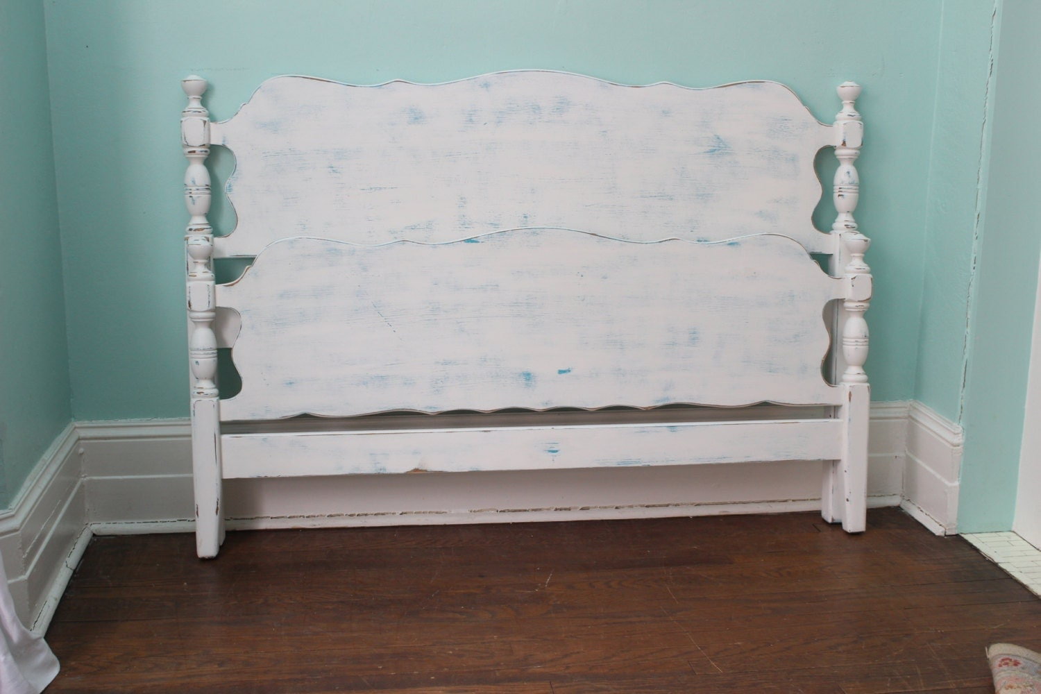 vintage lit plein cadre shabby chic blanc bleu turquoise plage. Black Bedroom Furniture Sets. Home Design Ideas