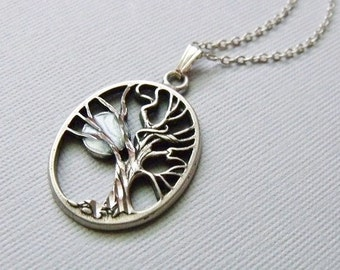 Silver Tree And Moon Necklace, Charm Necklace, Pendant Tree And Moon Necklace, Tree Jewelry, Moon Jewelry