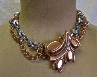 Tamara's Tulips: ART DECO Choker Modernist Vintage Assemblage Necklace 50s Copper Signed Renoir Repurposed Brooch Silver Statement Chain