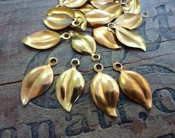 Vintage Brass Leaf Charm with Loop (6)