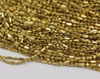 Stick Ball Chain, 10 M (1.5mm) Sticks Raw Brass Ball Chain - W65 Z100
