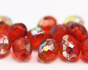 10 pcs Czech Glass Red Oval Faceted Beads CF-02