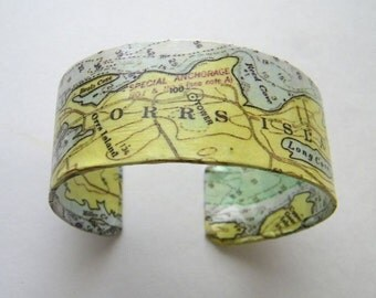 """Vintage Orrs Island & Mere Point Maine cuff bracelet - 1""""- gift boxed"""