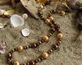 VENTE, collier de perles Baroque, chocolat jaune doré marron perles, collier de déclaration chic coloré, décontracté Keshi, perle bijoux, 9162