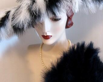 Sinamay Cartwheel Hat with Feather Fringe