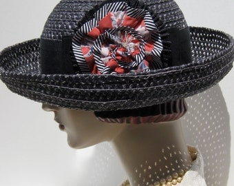 End of Summer Sale/ Black Straw Breton Hat with Ruffled Flower
