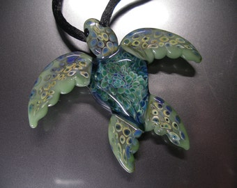 Lg Implosion Sea Turtle Pendant, wearable art, handmade borosilicate glass, with satin cord, clasp and gift bag, unique gift, FREE SHIPPING