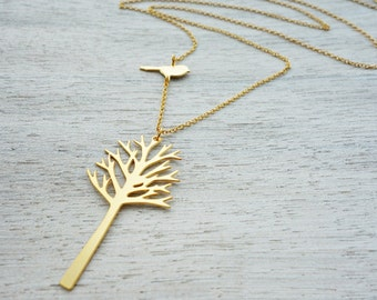 Long Woods Necklace, woodland tree pendant, Christmas jewelry, Scandinavian design