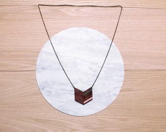 Sale  - ARIZ - Laser cut, walnut, triangle necklace, jade and peach