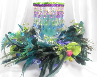 Peacock  Feathered Wreath and Beaded Hurricane Candle Holder  Home or Wedding Centerpieces