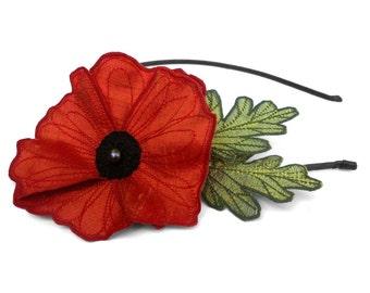 Red-Orange Icelandic Poppy Flower Headband- You Choose Headband, Clip, or Brooch- Embroidered Silk Flower Fascinator with Leaves