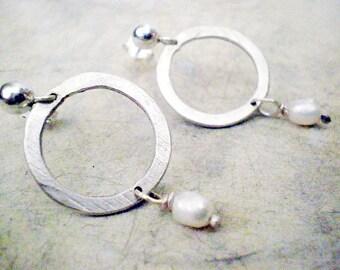 Circle earrings, sterling silver post earrings