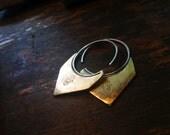 Brass Chevron Earrings with Hamsa