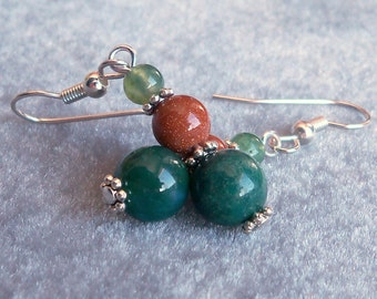 Moss Agate and Brown Goldstone Earrings