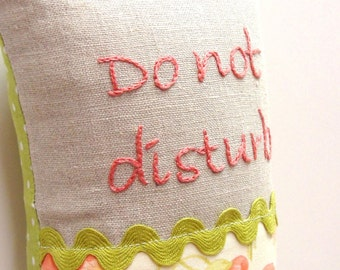 """hand embroidered doorknob pillow- """"Do not disburb"""" in coral with soft poppy print - Ready to ship"""