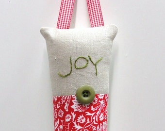 "Christmas pillow- hand embroidered doorknob pillow ""Joy"" with red and white floral print READY TO SHIP"