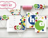 The PARTY KIT - BOUNCY Ball Birthday Party Kit for 12: Invitations, Banner, Favor Bag Toppers, Cupcake Picks & Straws >> Shipped to you <<