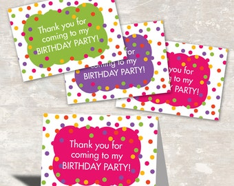 PRINT & SHIP Polka Dot Birthday Party Favor Bag Toppers (set of 12)