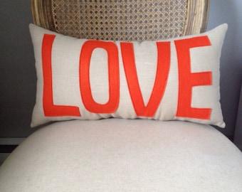 LOVE Pillow in Khaki and Orange