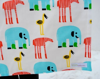 Marimekko Baby BLANKET with Organic Flannel - Elephant Zebra Animals- Eco Friendly Baby Blanket Bedding
