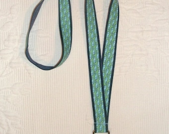 Preppy Green Nautical Whales Fabric Ribbon Lanyard