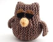 Owl Toy. Small Brown Sleepy Owlet.