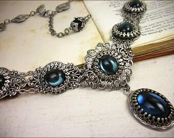 Blue Victorian Necklace, Navy Renaissance Jewelry, Medieval Bride, SCA Garb, Castle Wedding, Bridesmaid, Marie Antoinette, Ren Faire, Lucia