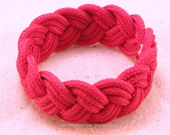 bright red paracord rope bracelet woven knotted bracelet turks head sailor bracelet three part bracelet nautical bracelet rope jewelry 3386