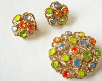 Vintage Jewelry Sarah Coventry Brooch and Earring Set Moonlites Multi-Color  Fruit Salad Crystal Set