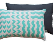 Lucknow - Screen-printed cushion cover in Mint with Navy back