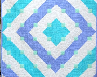 Beautiful Handmade Baby Girl Quilt, modern baby quilt