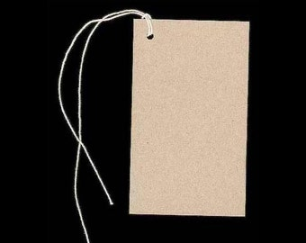 "100 Lg BLANK KRAFT Hang Tags & Strings. Size 2-1/8"" x 3-5/8"