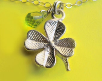 Sterling Silver Lucky Clover Necklace with Peridot Drop