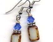 Blue and Off White Earrings, Swarovski Crystals plus Czech Handmade Beads My Best Seller Style Earrings SALE