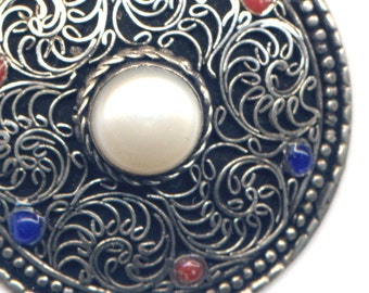 Red Coral Necklace, Tibet Lapis Lazuli Mandala Pendant, Nepal Mandala Necklace, Handmade Nepal Jewelry by AnnaArt72