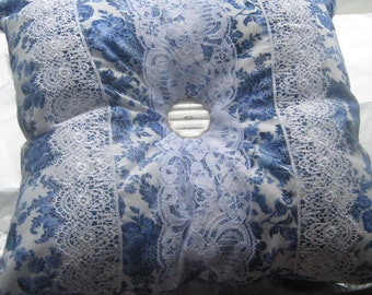 """Blue Rose Flowers on White Shabby Chic Lace Victorian Style Decorative Pillow Complete 12"""" x 12""""  Button Center"""