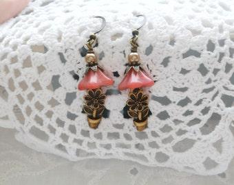 Czech Peach colored Glass 5 Petal Flowers, Flower Pots, Summer Earrings, Spring Flower Earrings