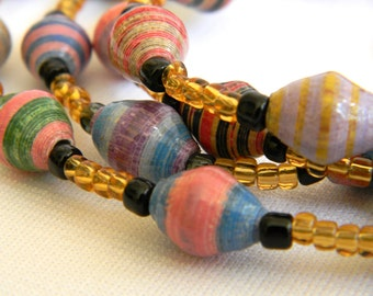 Paper Bead Jewelry - Necklace - #1415